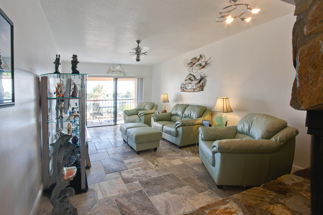 living room decorating ideas with stone fireplace cheap suits silver travertine tiles - eclectic tampa ...