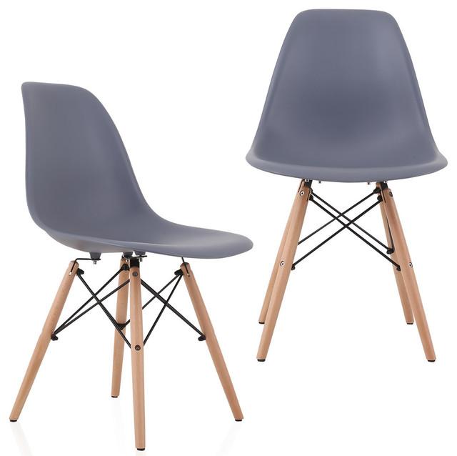 dsw gray mid century modern plastic dining shell chair w wood eiffel legs gray