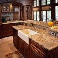 355 l shaped open concept kitchen design photos with travertine floors