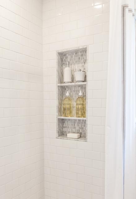 Custom MarbleMosaic Shower Niche in WalkIn Shower