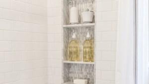 Custom Marble/Mosaic Shower Niche In Walk In Shower