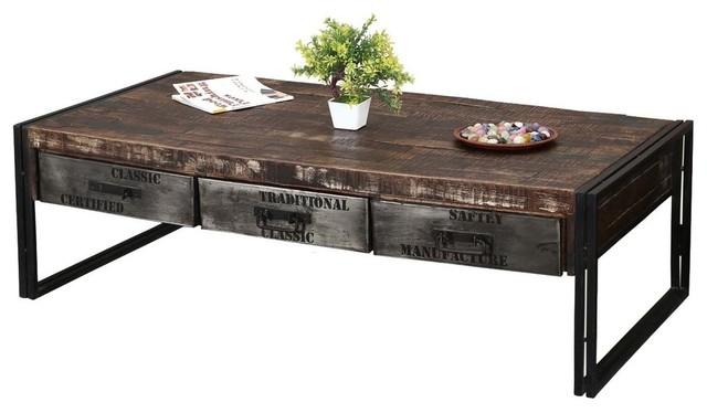 philadelphia rustic mango wood 3 drawer industrial coffee table