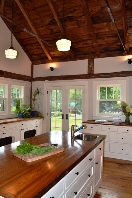 Vaulted Ceiling  Rustic  Kitchen  Boston  by Nashawtuc