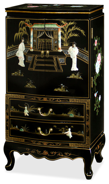 Black Lacquer Jewelry Armoire  Asian  Jewelry Armoires