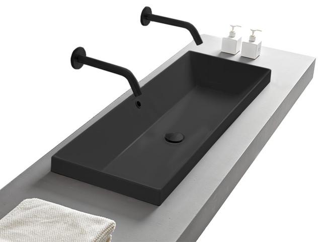 rectangular small matte black ceramic drop in sink no hole