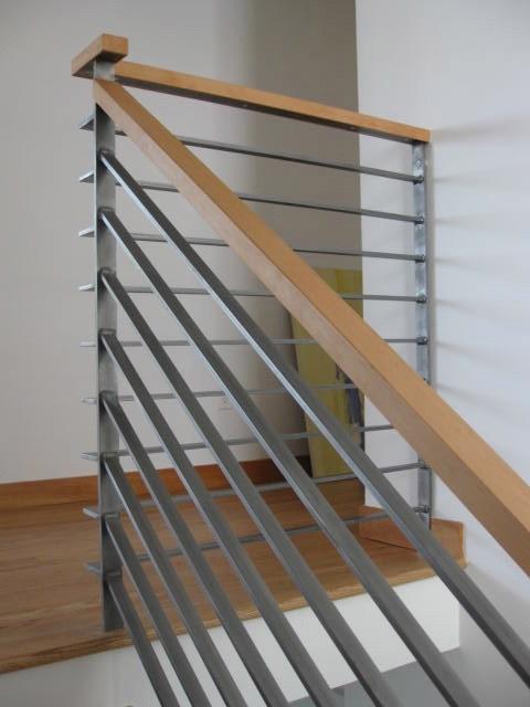 Modern Wood Railing   Modern Metal Stair Spindles