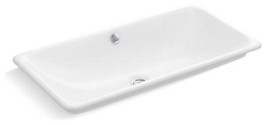 kohler iron plains trough rectangle vessel drop in under mount bath sink white