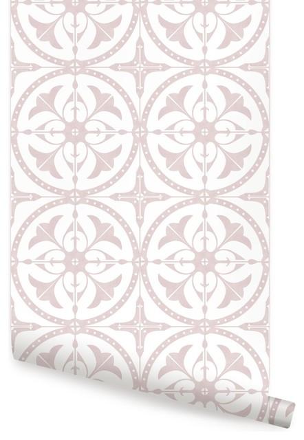 round moroccan tile peel stick pink 24 x108
