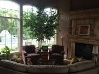 Odd shaped living room