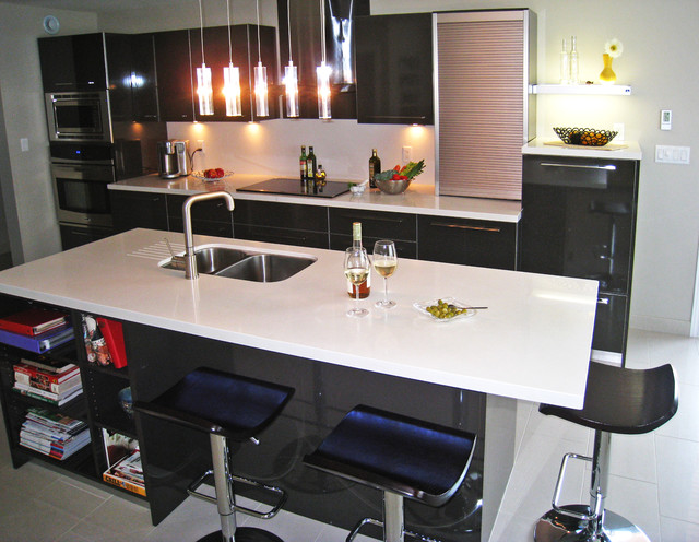 Contemporary Kitchen High Gloss Laminate Caesarstone Counter Tops