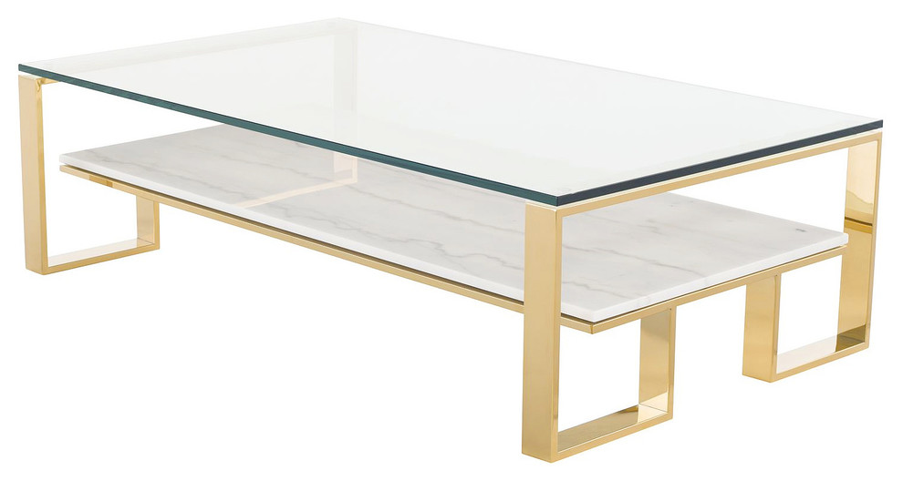 tierra gold glass top coffee table white