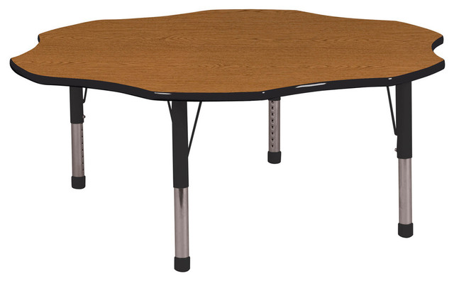 "60"" Flower Adjustable Activity Table Oak/Black W/Standard"