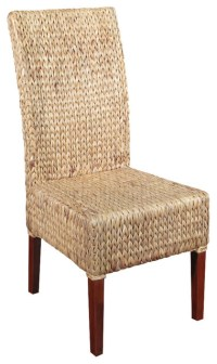 Solid Mahogany Woven Wicker Occasional Parson Side Chair ...
