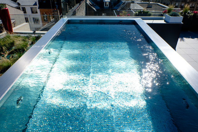 piscine inox hors sol sur terrasse  Contemporain  Reims  par Steel and Style  Piscines et Spas