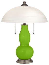Neon Green Gourd-Shaped Table Lamp with Alabaster Shade ...