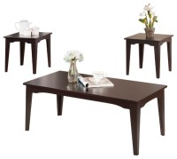 3-Piece Espresso Finish Coffee Table and 2 End Tables ...