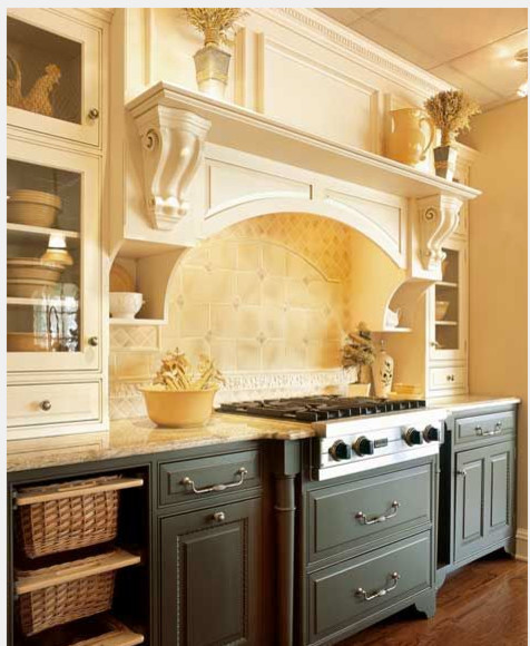 apple rugs for kitchen set girl range hood - with or without corbels?