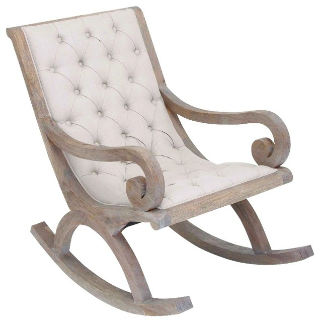white wood rocking chair best hunting chairs for ground blinds fabric button quilted cushion furniture decor traditional by gwg outlet