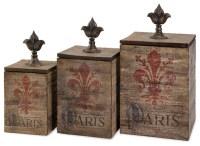 Imax Set of 3 Fleur De Lis Paris Theme Storage Decor Boxes ...