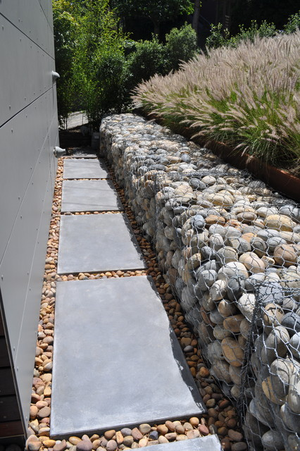gabion rock retaining wall - modern
