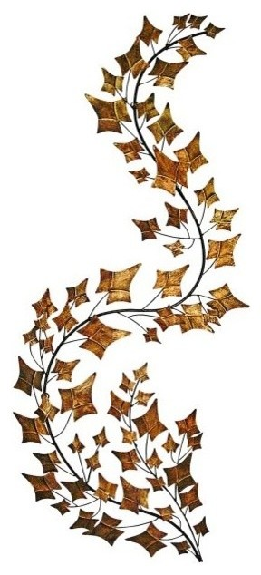 curved branch metal wall art leaves sculpture tall