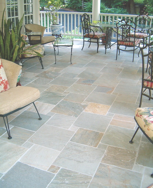 Porch floor tile  Traditional  Patio  Raleigh  by Neuse Tile Service Inc