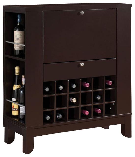 Adarn Inc  Dark Brown Fold Down Front Shelves Wine Rack