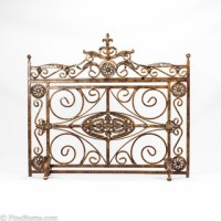 Antique gold iron fireplace screen - Traditional ...