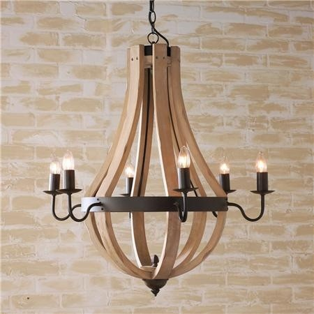 Wooden Wine Barrel Stave Chandelier Inspired By Slats From The Vineyard This Bent Wood Has