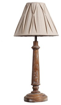 Country Style Wooden Candlestick Table Lamp - Rustic ...