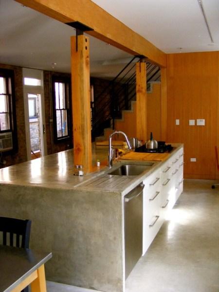 concrete kitchen island Wood + Concrete Kitchen Island + Stair - Door 13 Architects