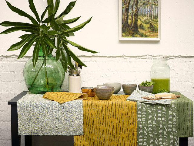 Garden of Eden Collection Fabrics and Table Linens in Avocado Green, Mustard Yel contemporary-dining-room