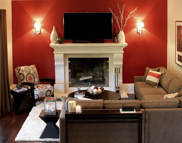 contemporary family room with