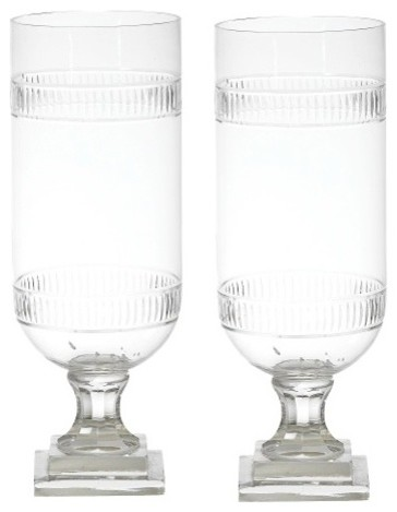 Tiffany Cut Glass Hurricane Lamp Lantern, Set of 2 Candle