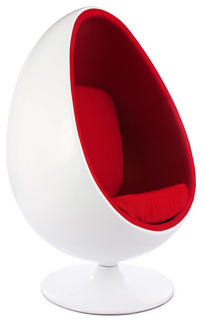 Retro White Shell Egg Pod Chair  Midcentury  Armchairs