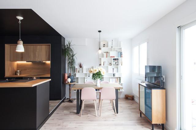 Une salle de sjour scandinave  Rnovation dun appartement  ParisButtes Chau