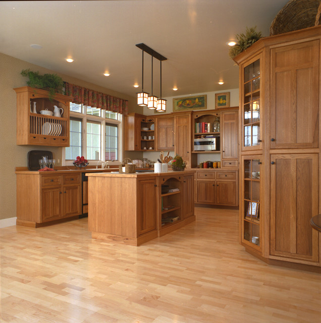 Craftsman Style Kitchen Hickory Wood Cabinets Craftsman Kitchen