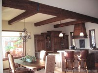 Dining Room with Faux Wood Beams