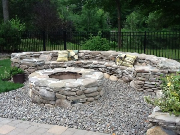 natural stone fire pit - traditional