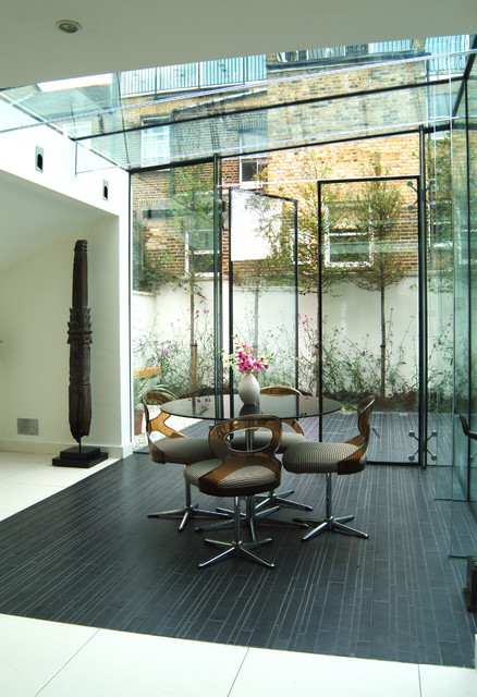 Perfect Glass Box  Contemporary  Dining Room  London  by John Onken Architects