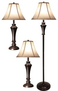 Floor Lamp With 2 Matching Table Lamps, Set of 3