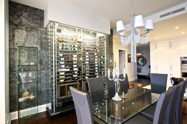 glass wine room in the dining room 5  Modern  Dining Room  Miami  by Millesime Wine Racks