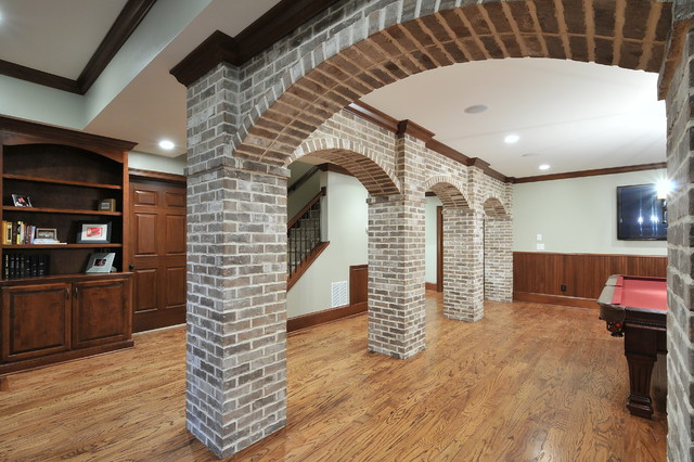 Basement with Brick Arches  Traditional  Family  Games Room  Atlanta  by Innovative