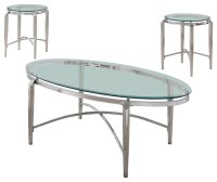 Dorothee 3-Piece Coffee Table and End Tables Set, Chrome ...
