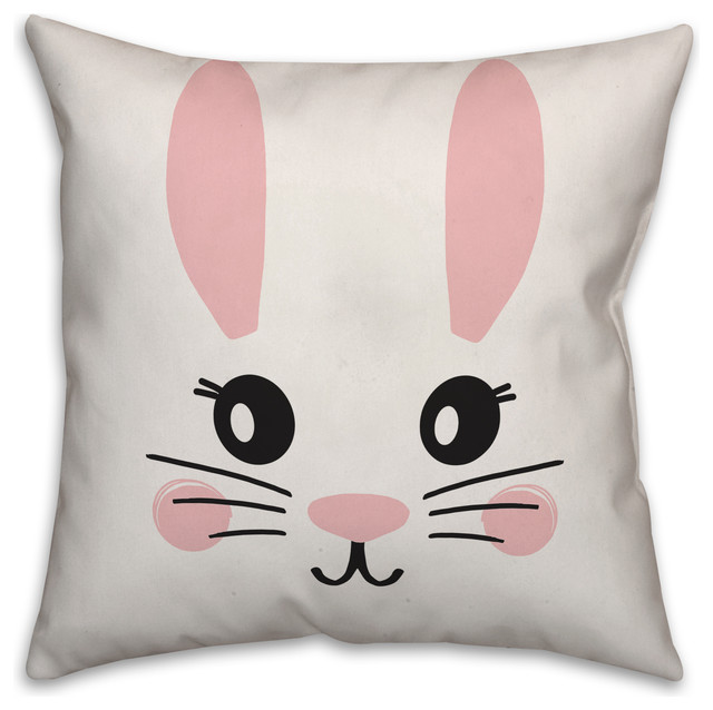 simple bunny face 16x16 throw pillow cover