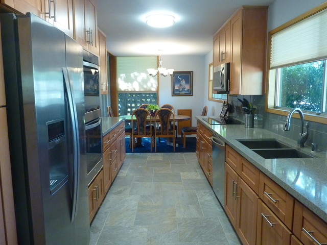 Natural Beech Wood Shaker Galley Kitchen  Craftsman  Kitchen  Orange County  by The Cabinet Lady