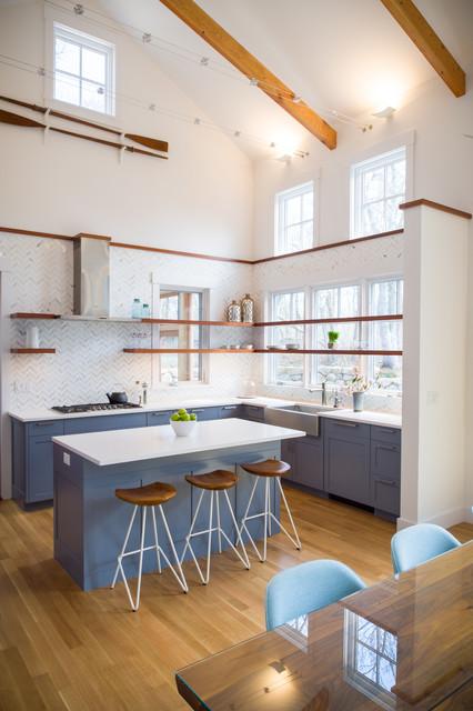 Modern Farmhouse Residence Beach Style Kitchen Boston By Architecture Indigo LLC