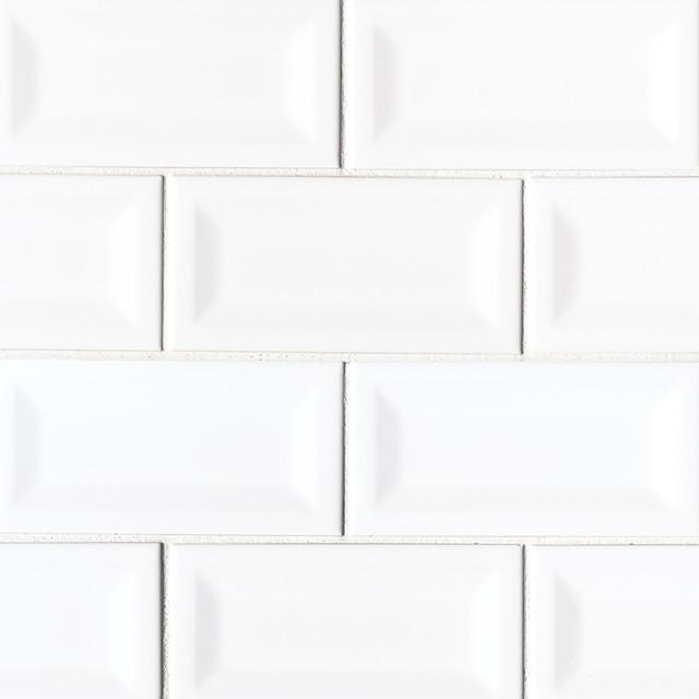 white glossy inverted beveled subway tile sample