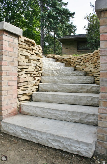 faux limestone steps and rebuilt