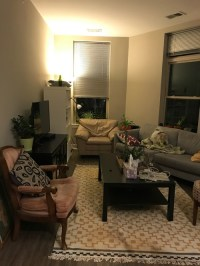 Help with small odd shaped living room layout
